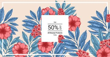 Beauty Products Offer Line Frame with Flowers