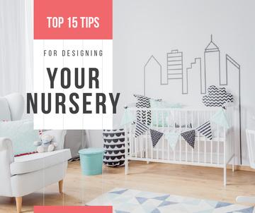 Cozy nursery interior in white