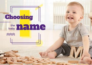 Child playing with letters