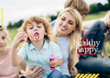 Parents with kids having fun