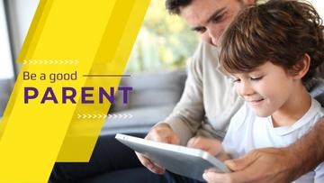 Parenting Tips with Father and Son Using Tablet