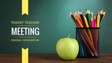 School Meeting Announcement with Colorful Pencils and Apple