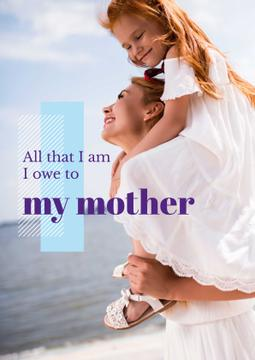 Parenthood Quote Happy Mother with Daughter