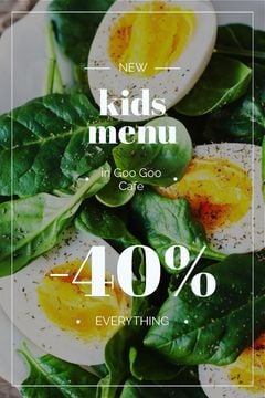 Kids Menu Offer Boiled Eggs with Spinach