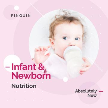 Baby Drinking from Bottle in Pink