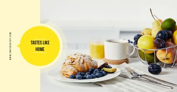 Cafe Promotion Croissant with Blueberries and Almonds