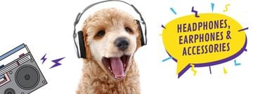 Funny dog with bouncing head listening to music