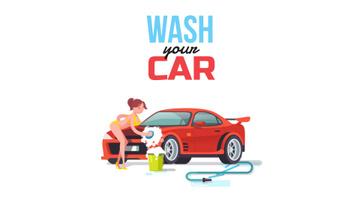 Girl in bikini washing car