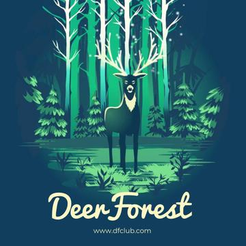 Magical deer in forest