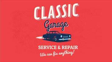 Garage Ad Vintage Car on Red Background