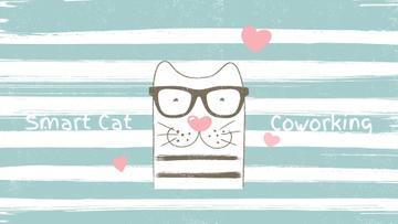 Smart Cat on Striped Background with Hearts