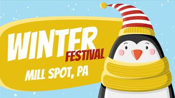 Winter Fest Cute Winter Penguin in Hat