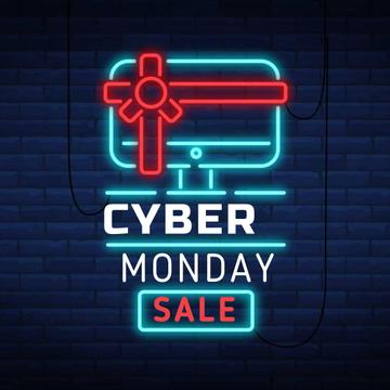 Cyber Monday with Neon sign with gifted computer