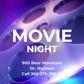 Movie Night Announcement with Vintage film bobbin