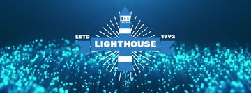 Lighthouse icon with Glowing bubbles