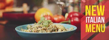 Sprinkling cheese on Italian menu pasta