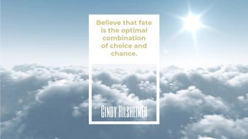 Inspiration Quote Flying over Clouds in Sky