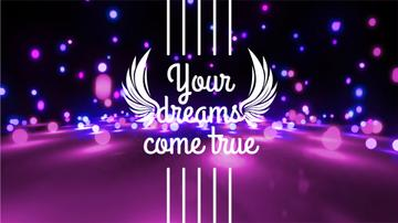 Dreams Quote Glowing Bubbles Falling in Purple