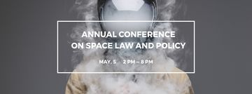 Space Conference Announcement Man in Spacesuit Surrounded by Smoke
