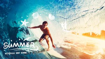 Man surfing in barrel wave