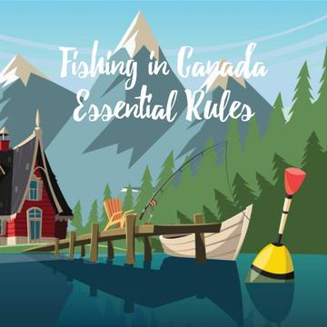 Boat and fishing rod on mountain lake