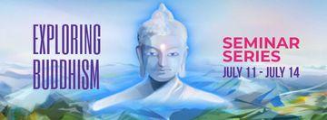 Buddha image over mountains landscape