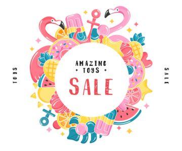 Summer Toys Sale Frame in Pink