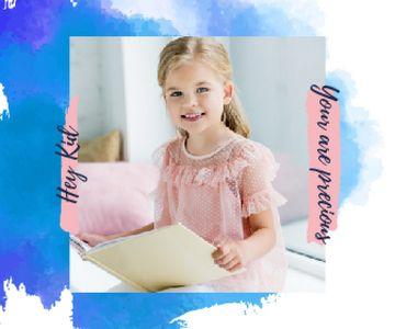 Little Smiling Girl Reading