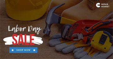 Labor Day Repair tools and hard hat