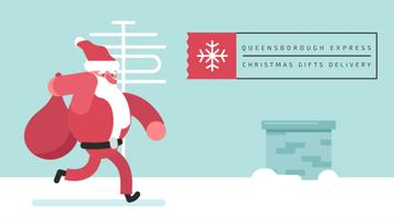 Santa Claus running on roof