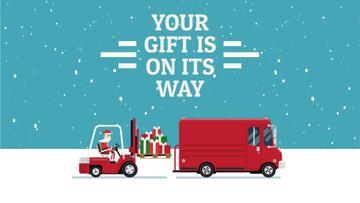 Santa loading gifts in truck