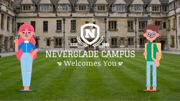Friendly students welcoming you by campus