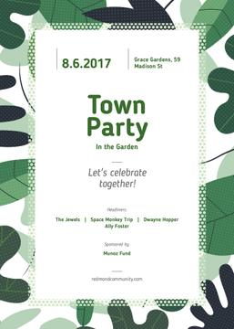Town Party announcement on Green leaves frame