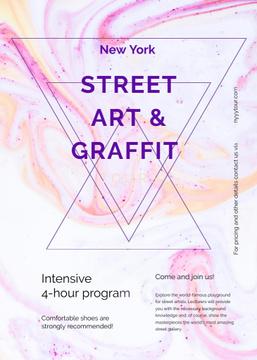 Graffiti art promotion on Colorful blurred pattern
