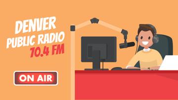 Radio host at radio show