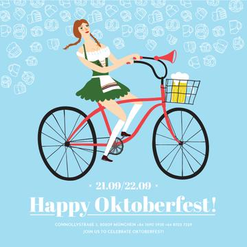 Girl in Oktoberfest costume riding bicycle