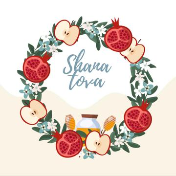 Rosh Hashanah holiday wreath