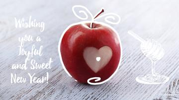 Rosh Hashanah apple with heart symbol