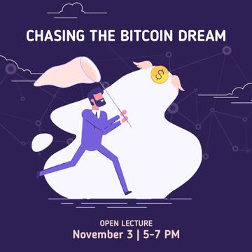 Lecture Announcement with Man chasing Bitcoin