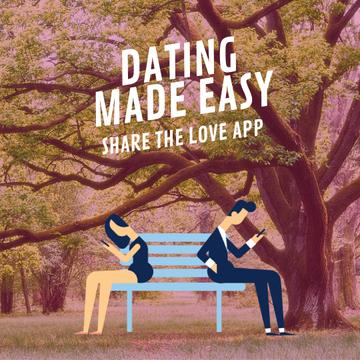 Young couple using dating app