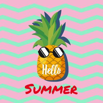 Cartoon pineapple in sunglasses