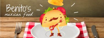 Mexican taco cartoon character playing guitar on plate