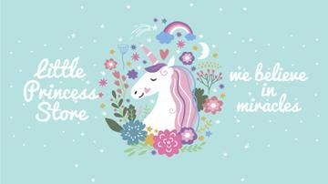 Unicorn in flowers frame