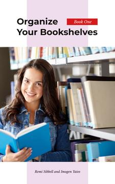 Girl Reading Book by Shelf