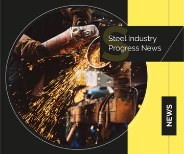 Man cutting metal in workshop