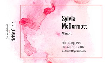 Doctor Contacts on Watercolor Paint Blots in Pink
