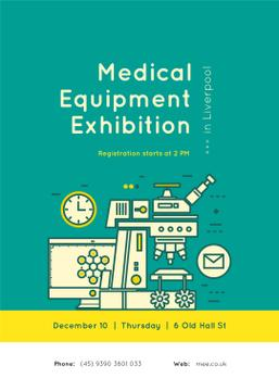 Professional scientific microscope at exhibition