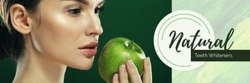 Teeth Whitening with Woman holding Green Apple