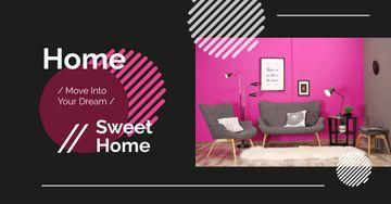 Cozy interior in pink colors