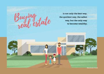 Real Estate Ad with Family in Front of Their House